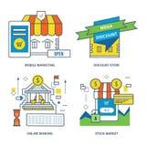 Concept du marketing mobile, magasin discount, opérations bancaires en ligne, marché boursier Photographie stock libre de droits