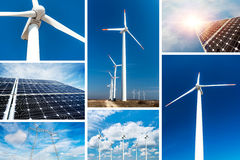 Concept duurzame energie en duurzame middelen - fotocollage stock foto's