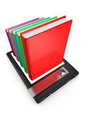 Concept e book with many classic books from screen Royalty Free Stock Image
