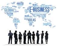 Concept e-business het Globale van de Bedrijfshandels Online Wereld Stock Foto's