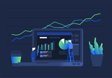 Concept of e-commerce. Digital analytics information tools. Big data. Concept for successful business in flat vector design Stock Photos