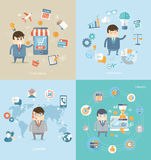 Concept of e-commerce, finance, support, idea. Flat design concept of business, e-commerce and finance, of technical support, creative idea, online shopping Stock Photos