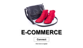 Concept of e-commerce. E-commerce concept on white background royalty free stock photography