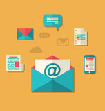 Concept e-mail marketing - bulletin en abonnement, vlak t Royalty-vrije Stock Foto