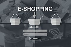 Concept of e-shopping. E-shopping concept illustrated by pictures on background royalty free stock photography