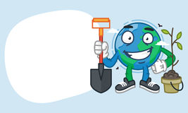 Concept Earth Character Holding Shovel and Smiling Stock Photography