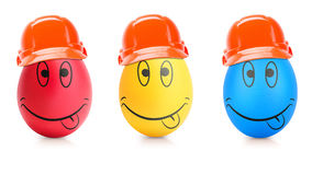 Concept of Easter egg with emotions faces isolated. On white Stock Photography