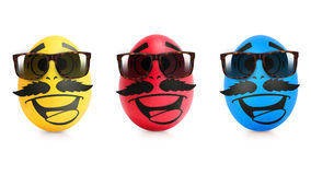 Concept of Easter egg with emotions faces isolated. On white Stock Photos
