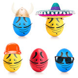 Concept of Easter egg with emotions faces isolated Stock Images