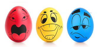 Concept of Easter egg with emotions faces isolated Stock Photography