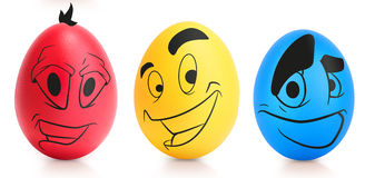 Concept of Easter egg with emotions faces isolated Stock Photo