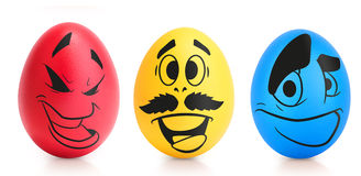 Concept of Easter egg with emotions faces isolated Royalty Free Stock Images
