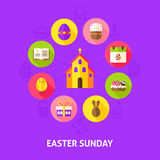 Concept Easter Sunday. Vector Illustration of Spring Holiday Infographics Circle with Flat Icons Stock Photo