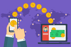 Concept of easy money transfer Royalty Free Stock Image