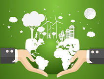 Concept eco earth and hand .paper art Royalty Free Stock Photos