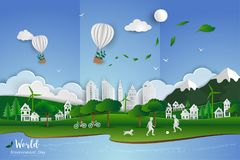 Childs playing soccer with white clean city on paper art scene abstract background,vector illustration. Concept of eco friendly save the world and environment Stock Photography