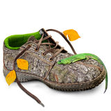 Concept. Eco-friendly shoes. Concept Eco friendly shoes.  go green. think green. Shoes made of natural materials. Winter shoes from the bark of a tree, grass Stock Photos