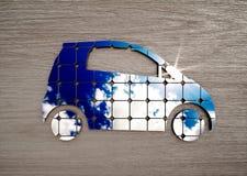 Concept of eco friendly transport on dark wood desk stock illustration