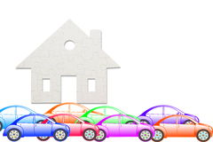 Concept of eco house with jigsaw puzzle pieces and car Royalty Free Stock Image