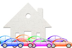 Concept of eco house with jigsaw puzzle pieces and car Stock Photos