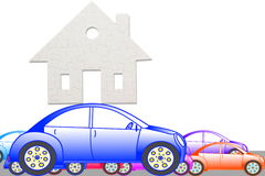 Concept of eco house with jigsaw puzzle pieces and car Stock Image