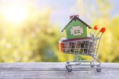 Concept eco house in a shopping cart on a background of greenery. Idea: buying a house, renting out, selling real estate. Mortgage. Loan for housing Royalty Free Stock Photo