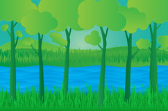 Concept eco paper art design style, tree and grass with nature, Royalty Free Stock Photo