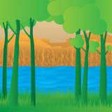 Concept eco paper art design style, tree and grass with nature, Stock Images