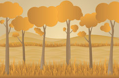 Concept eco paper art design style, tree and grass with nature, Royalty Free Stock Photos