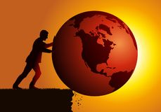 Concept of ecological disaster with a man destroying the earth. Concept of global warming and destruction of the environment with as symbol, an irresponsible stock illustration