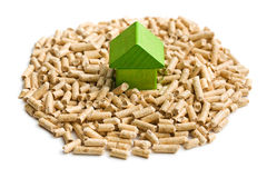 Concept of ecological and economic heating. Wooden pellets. Stock Photo