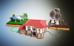 The concept of ecologically clean energy The house is connected. To solar panels and weather vanes instead of thermal power stations 3d Stock Image