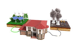 The concept of ecologically clean energy The house is connected Royalty Free Stock Image