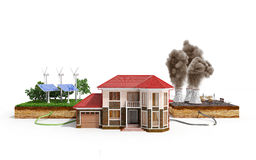 The concept of ecologically clean energy The house is connected Stock Photo