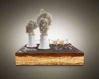 The concept of ecologically problems The thermal power stations Stock Image