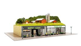 The concept of ecologically pure food showcases grocery supermarkets with a farm on the roof 3d render on white royalty free illustration