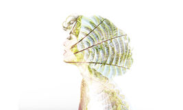 Concept of Ecology. Creative portrait double exposure Stock Photo