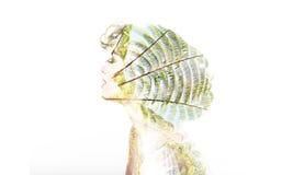 Concept of Ecology. Creative portrait double exposure Stock Photo