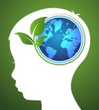 Concept of ecology with earth and leaf in head kids. Vector vector illustration