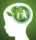 Concept of ecology with earth and leaf in head kids. Vector stock illustration