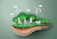 Concept of ecology  and environment with children running in the  park . Stock Images