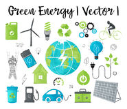 Concept of ecology and green energy. Modern watercolor design vector illustration, concept of ecology, green energy and saving earth environment problem, for Royalty Free Stock Images