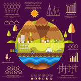 Concept of ecology infographic with statistical graphs. Concept of ecological infographic elements with creative illustration of a urban city and various Royalty Free Stock Photography
