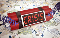 Concept of economic crisis. Time bomb with stacks of banknotes, concept of economic crisis (3d render Stock Photo