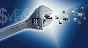 Concept economisch kraken en het globale in de begroting opnemen. Stock Foto's