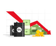 Concept of economy crisis, low budget, price decrease, stock market financial data, negative income. Oil, money cash and gold with down arrow graph vector Royalty Free Stock Images