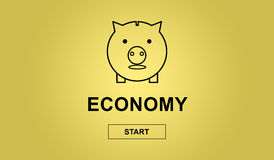 Concept of economy. On yellow background Royalty Free Stock Photo