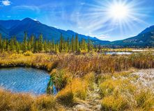 Concept of ecotourism in Banff National Park. Gorgeous sunset on the Vermilion Lakes in mountains of Banff National Park. Concept of ecotourism. Rocky Mountains royalty free stock photo