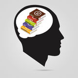 Concept of education. Books in head. Modern design. Vector Royalty Free Stock Images