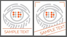 Concept for the education Braille. Concept for the education of the blind, in the form of an eye with the text Braille and a fingerprint. icon in the linear Royalty Free Stock Image